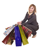 Businesswomen with group of bag shopping. Royalty Free Stock Images