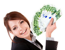Businesswomen with group of money. Stock Images