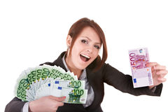Businesswomen with group of money euro. Stock Photo