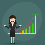 Businesswomen with growth chart. Stock Photo