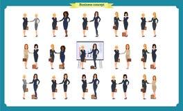 Businesswomen handshake. Business people teamwork, set of business women. In different poses,profile, front, standing, arms crossed, handshaking, cartoon flat stock illustration