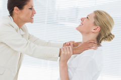 Businesswomen having a violent fight in office. Side view of two young businesswomen having a violent fight in their office Stock Image