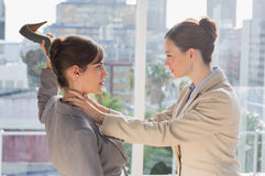 Businesswomen having a violent fight. In their office Royalty Free Stock Photography