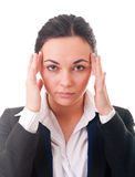 Businesswomen with a headache, massaging Stock Image