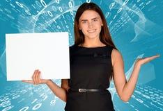 Businesswomen hold empty white paper Stock Image