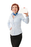 Businesswomen holding a business card. Woman holds out business card. Focus on eyes Royalty Free Stock Photos