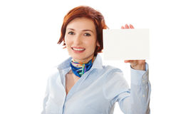 Businesswomen holding a business card. Woman holds out business card. Focus on eyes Royalty Free Stock Images