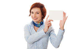 Businesswomen holding a business card. Woman holds out business card. Focus on eyes Stock Image
