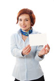Businesswomen holding a business card. Woman holds out business card. Focus on hand and card Stock Photography