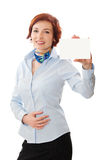 Businesswomen holding a business card. Woman holds out business card. Focus on hand and card Royalty Free Stock Photography