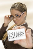 Businesswomen holding  business card Stock Photography