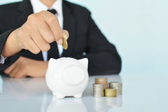 Businesswomen holding coin and white piggy bank Royalty Free Stock Photography