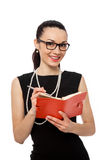 Businesswomen holding orange notebook and writing Royalty Free Stock Photo
