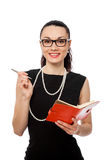 Businesswomen holding orange notebook and writing Stock Photography