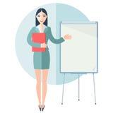 Businesswomen illustration. Cute businesswomen showing on empty flip chart. Flat style illustration Royalty Free Stock Photos