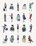 20 Businesswomen illustrations. Set of 20 vector illustrations of businesswomen in various poses Stock Image