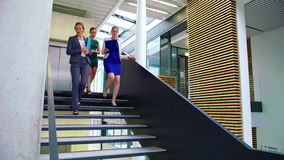 Businesswomen interacting with each other while walking on stairs