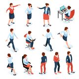 Businesswomen Isometric Set. Businesswomen isometric colored set of female characters in different poses at work place isolated on white background  vector vector illustration