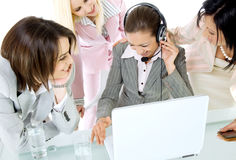Businesswomen laughing internet Royalty Free Stock Photos