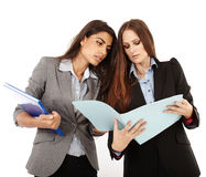 Businesswomen looking to documents Royalty Free Stock Photo