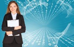 Businesswomen with paper holder Stock Photos