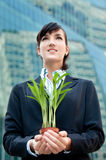 Businesswomen with Plant Stock Image