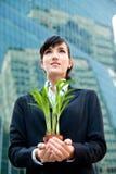 Businesswomen with Plant Stock Photo