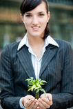 Businesswomen with Plant Stock Photos