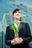 Businesswomen with Plant Stock Photography