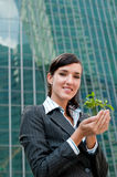 Businesswomen with Plant Royalty Free Stock Photo