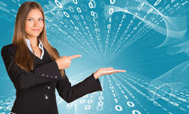Businesswomen pointing to empty copy space Royalty Free Stock Photos