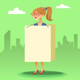Businesswomen with a poster and place for text Royalty Free Stock Photography
