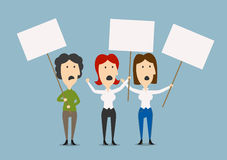 Businesswomen protesting with blank placards Royalty Free Stock Photography
