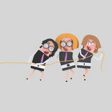Businesswomen pulling a rope together. 
