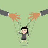 Businesswomen puppet on ropes. Business manipulate behind the scene concept Stock Photo