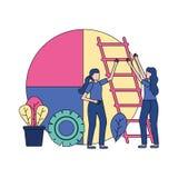 Businesswomen report chart. Stairs gear vector illustration stock illustration