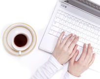 Businesswomen's hand with laptop. Stock Images