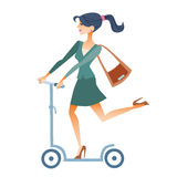 Businesswomen scooter rides to work. Businesswoman in a suit on the scooter rides to work in the morning royalty free illustration