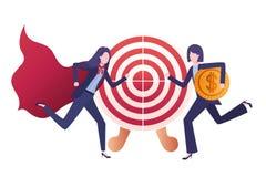 Businesswomen with set of icons. Vector illustration desing stock illustration
