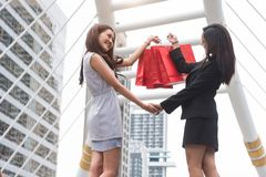Businesswomen shopping at shopping mall and retail bag in urban. Rich happy shopper girls buying gift from product store in Black. Friday or Cyber Monday sale royalty free stock photo