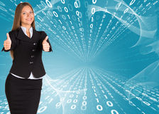 Businesswomen showing thumb up Stock Images