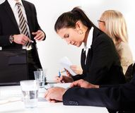 Businesswomen taking notes at the presentation Royalty Free Stock Photo