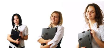 Businesswomen team with folders Royalty Free Stock Image