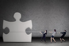 Businesswomen teamwork pull a puzzle Stock Images