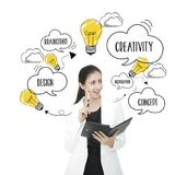 Businesswomen thinking with lightbulb. concept for new ideas. With innovation and creativity Stock Photos