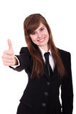 Businesswomen with thumb up. Business women showing thumbs up on a isolated white background Royalty Free Stock Photos