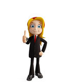 Businesswomen with thumbs up pose. 3d illustration of businesswomen with thumbs up pose Stock Image