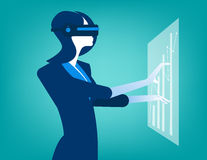 Businesswomen with virtual reality innovation. Concept business illustration. Vector falt Royalty Free Stock Photo