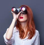 Businesswomen in white shirt with binocular Stock Image