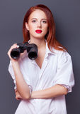 Businesswomen in white shirt with binocular Royalty Free Stock Images